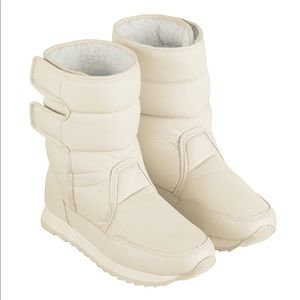 Shoes - White Fleece-Lined Winter Boot with cleats